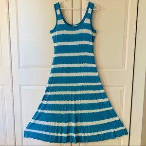 Calvin Klein Maxi tie dye dress blue stretchy EUC
